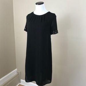 H & M Black Beaded Shift Dress LBD Little Black